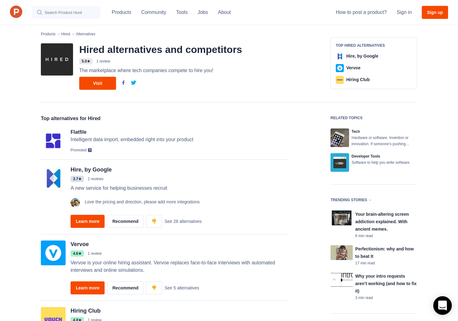 Why Some Companies Are Trying To Hire >> 7 Alternatives To Hired Product Hunt