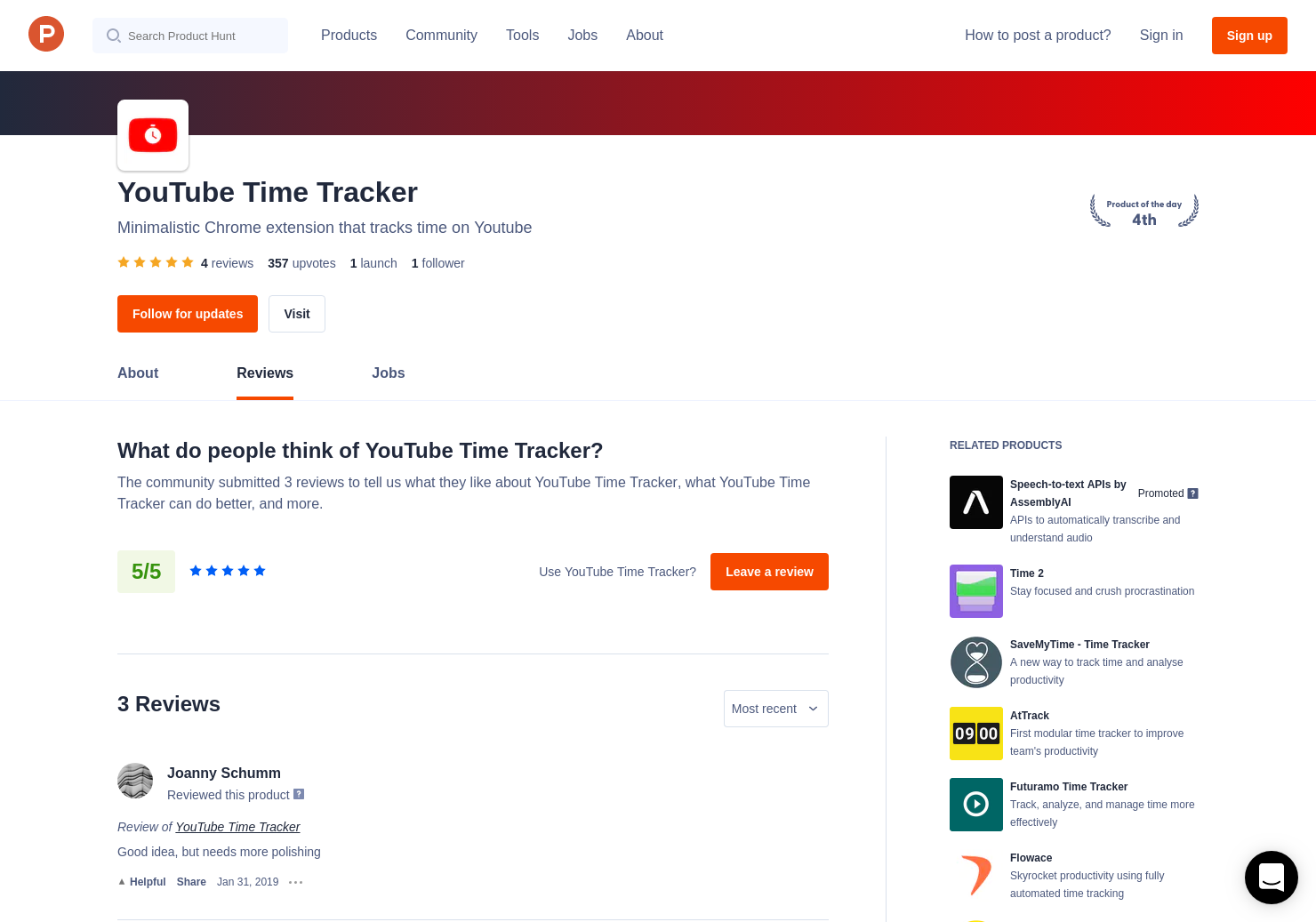 Simon Bennett's review of YouTube Time Tracker | Product Hunt