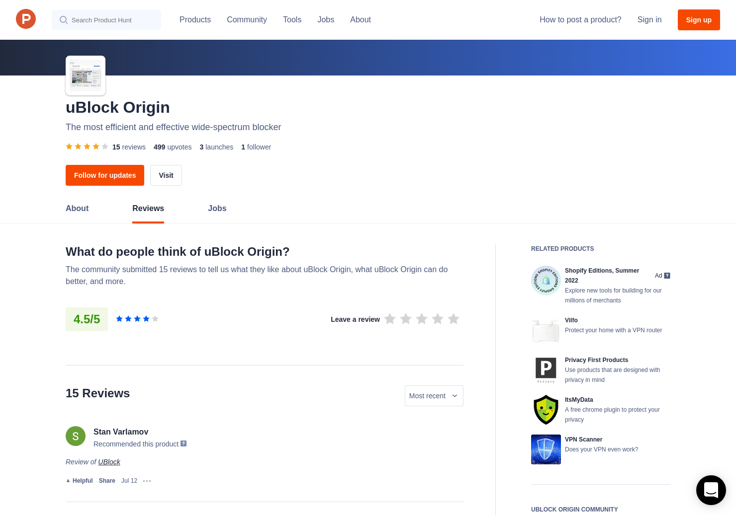 1 uBlock Origin Reviews - Pros, Cons and Rating   Product Hunt