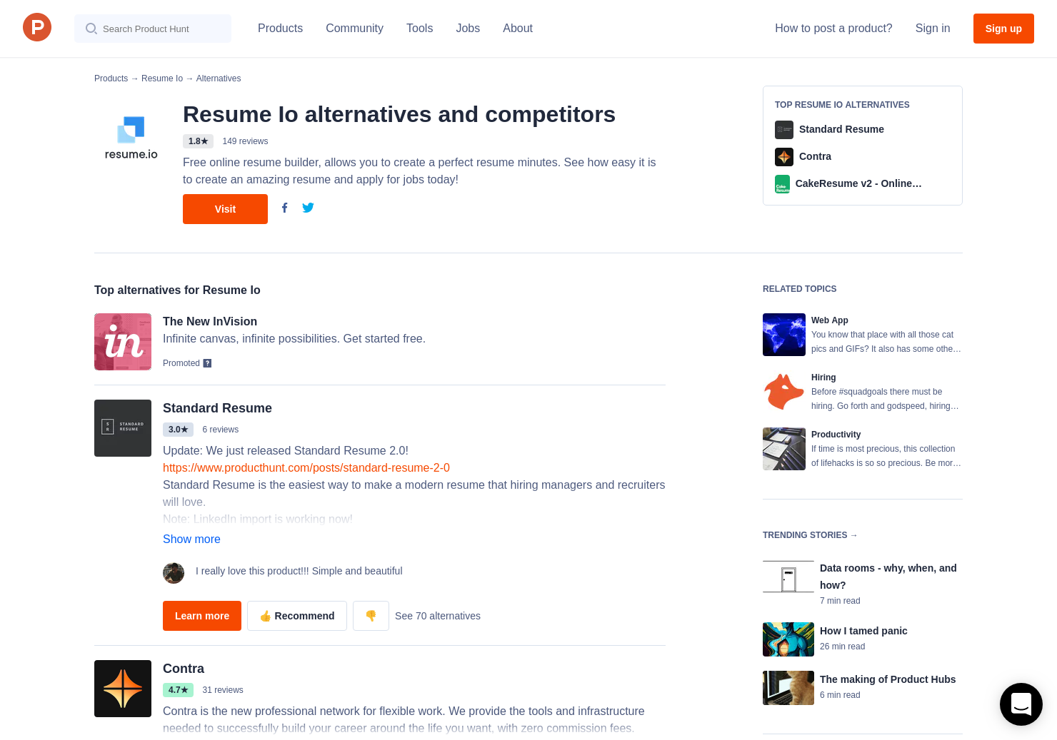 23 alternatives to resume io product hunt