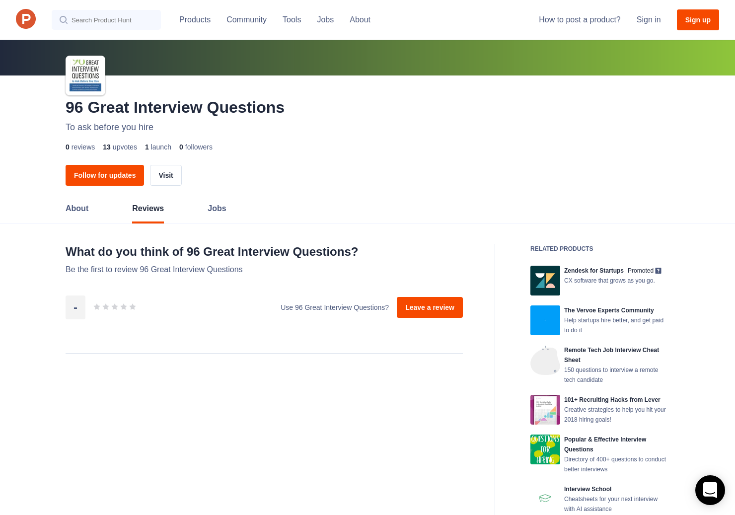 96 Great Interview Questions Reviews - Pros, Cons and Rating | Product Hunt
