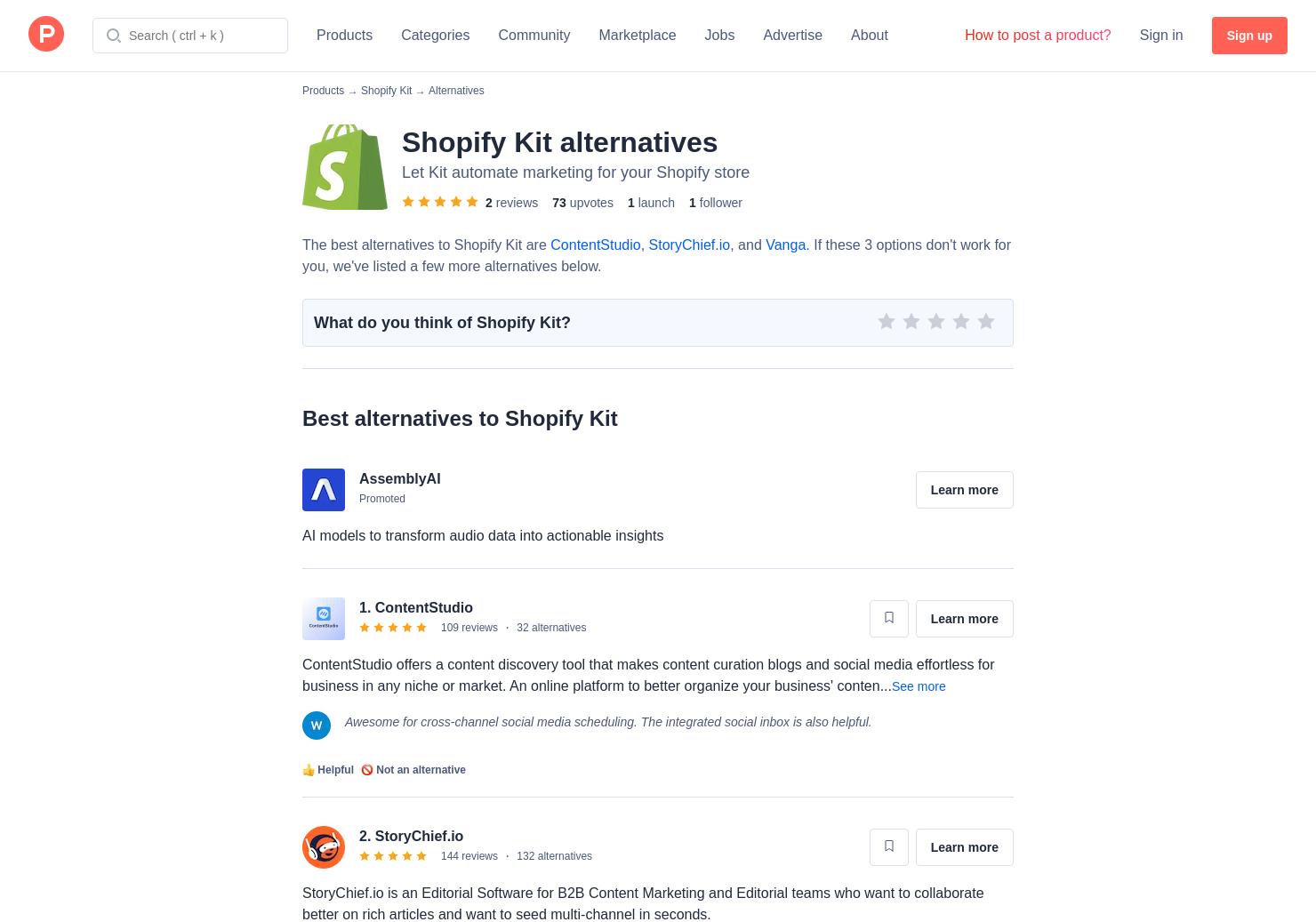 7 Alternatives to Shopify Kit   Product Hunt