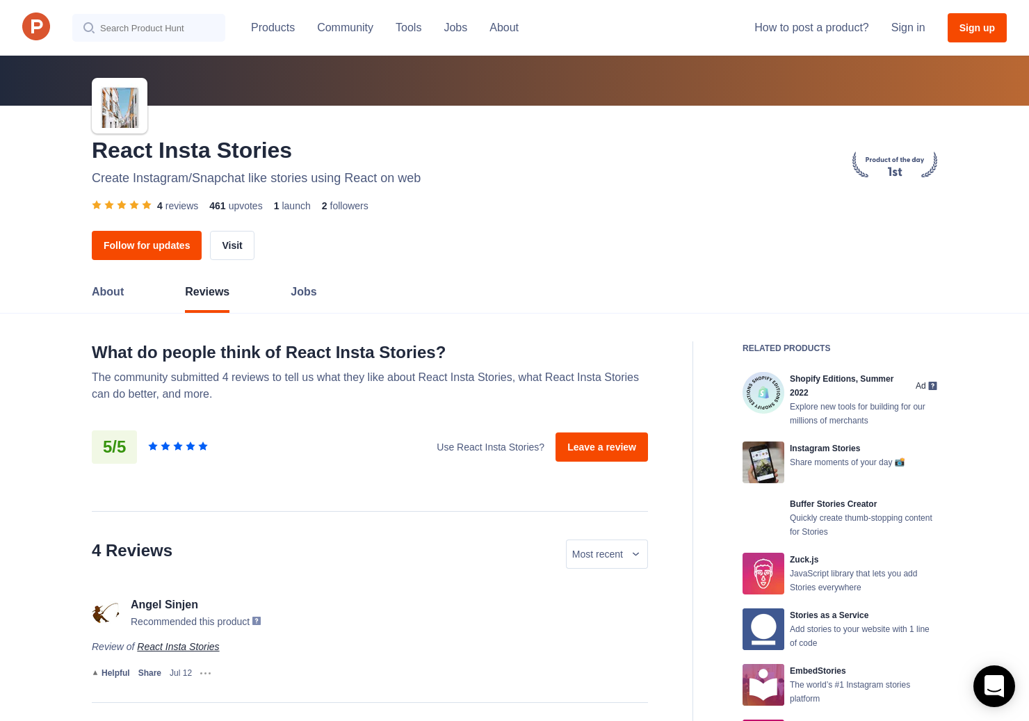 4 React Insta Stories Reviews - Pros, Cons and Rating   Product Hunt