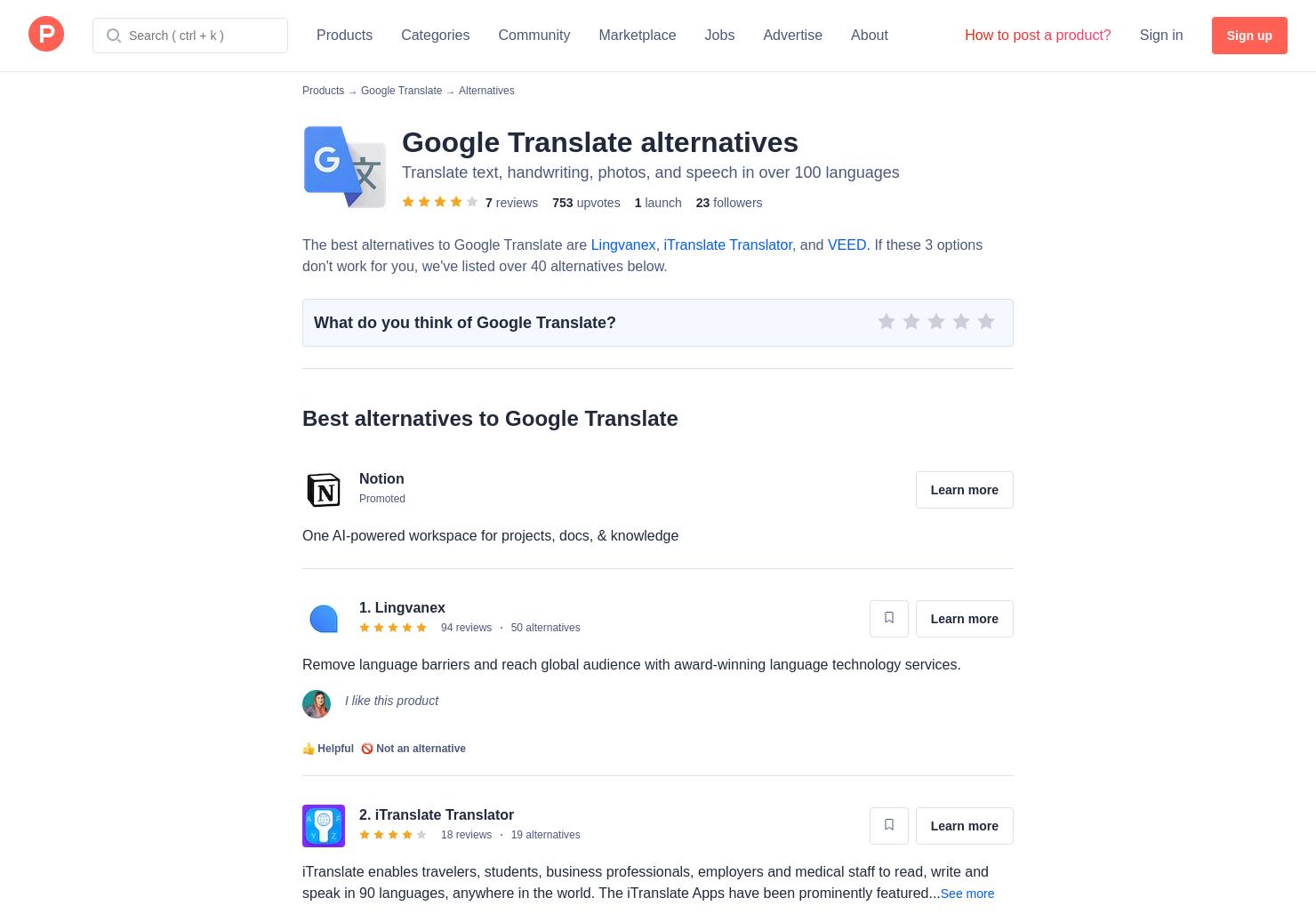 46 Alternatives to Google Translate | Product Hunt