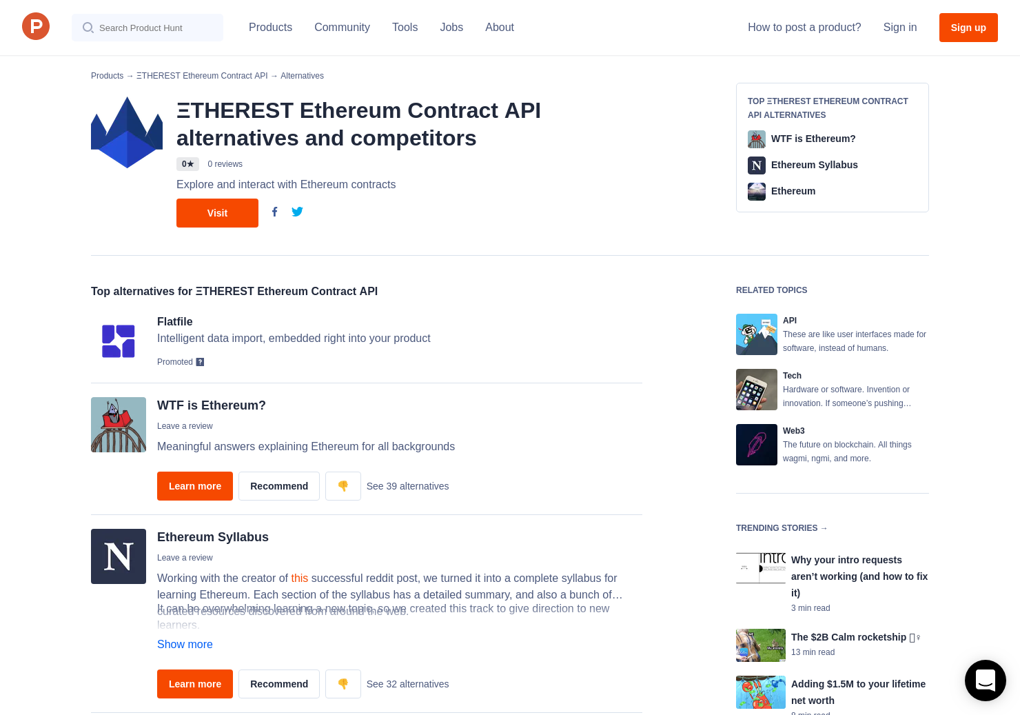 16 Alternatives to ΞTHEREST Ethereum Contract API | Product Hunt