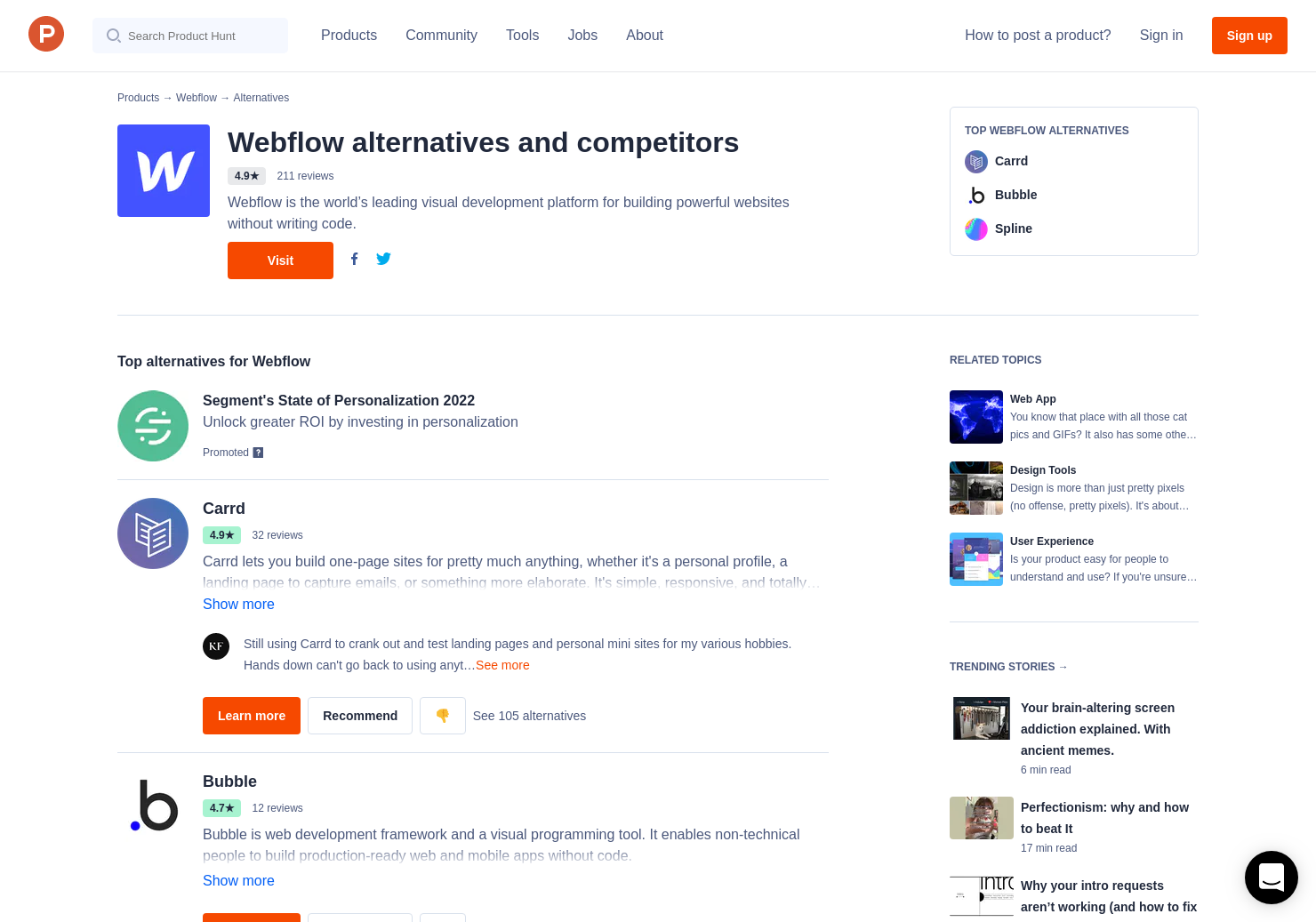 60 Alternatives to Webflow CMS | Product Hunt