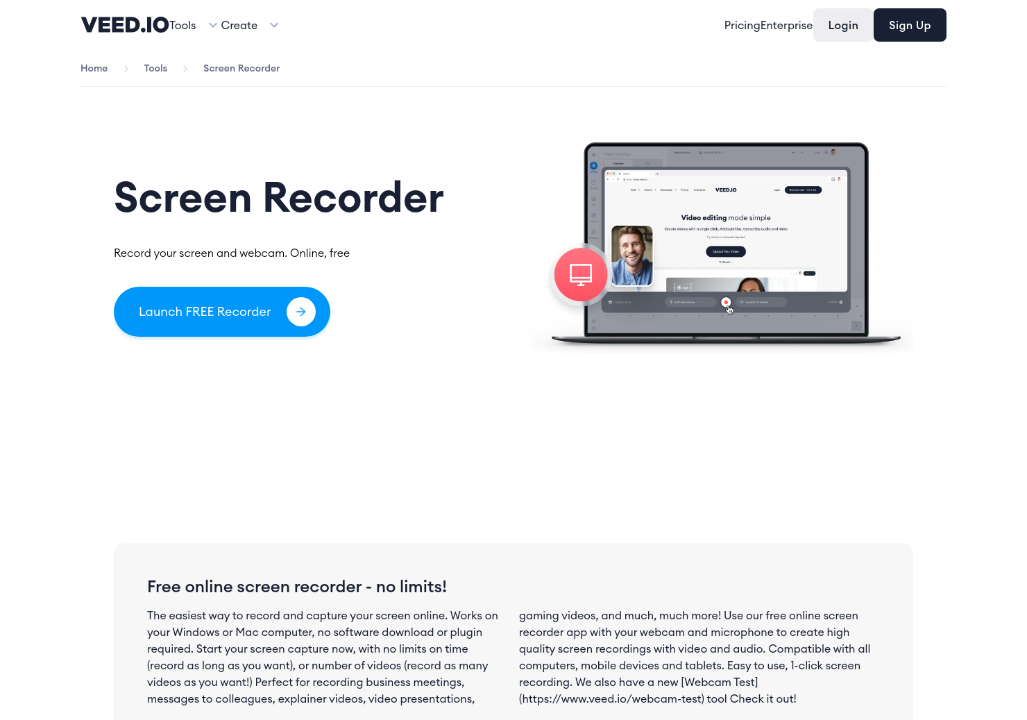 Veed Screen & Webcam Recorder