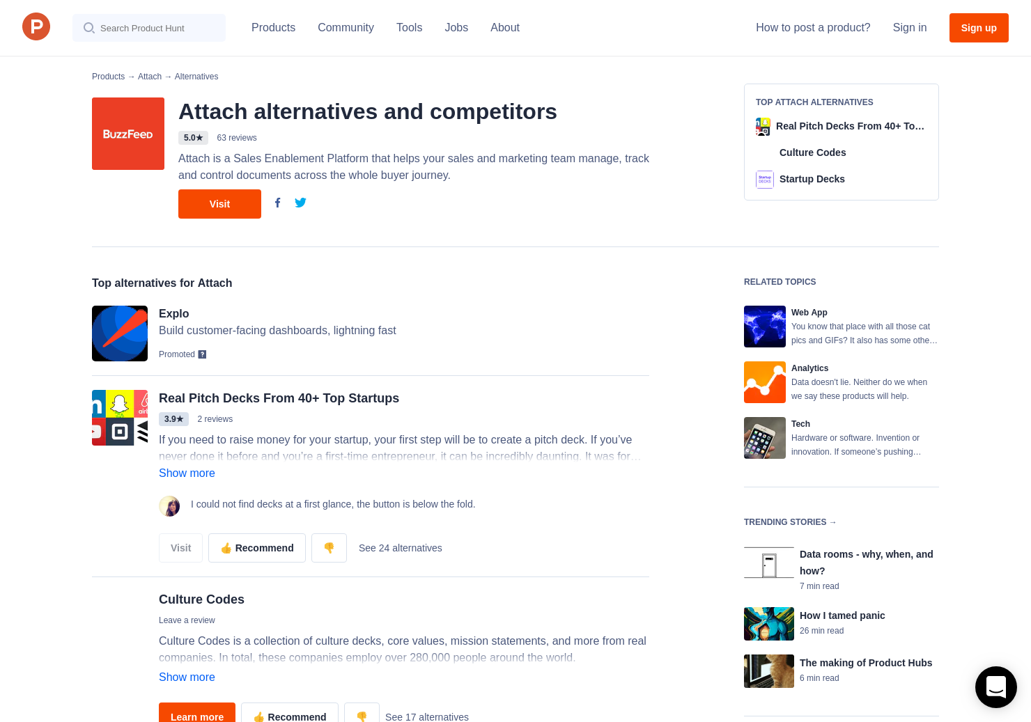 30 alternatives to startup pitch decks product hunt
