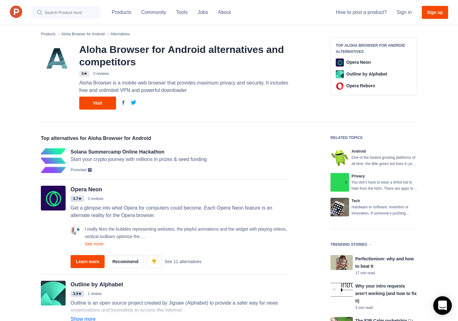 16 Alternatives to Aloha Browser for Android for Android | Product Hunt