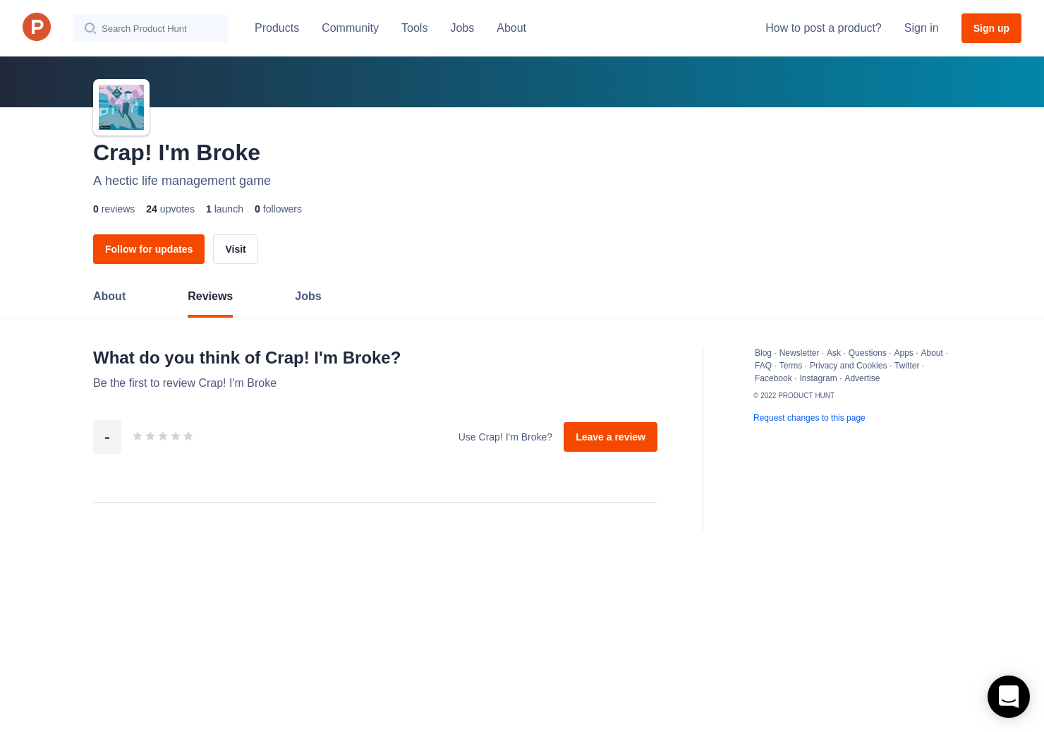 Crap! I'm Broke Reviews - Pros, Cons and Rating | Product Hunt