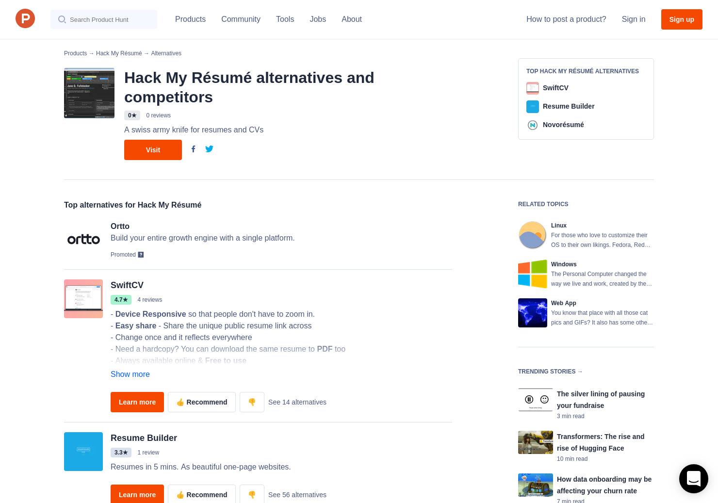 resume My Resume Website 11 alternatives to hack my for linux windows product hunt
