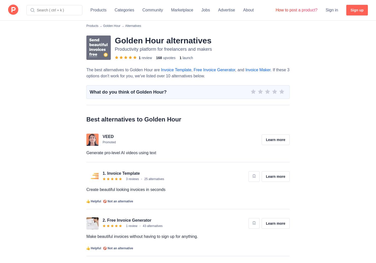 Alternatives To Golden Hour Invoice Builder Product Hunt - Invoice builder