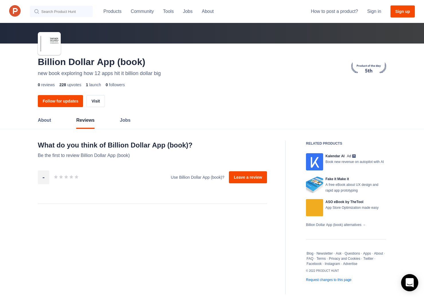 Billion Dollar App (book) Reviews - Pros, Cons and Rating | Product Hunt