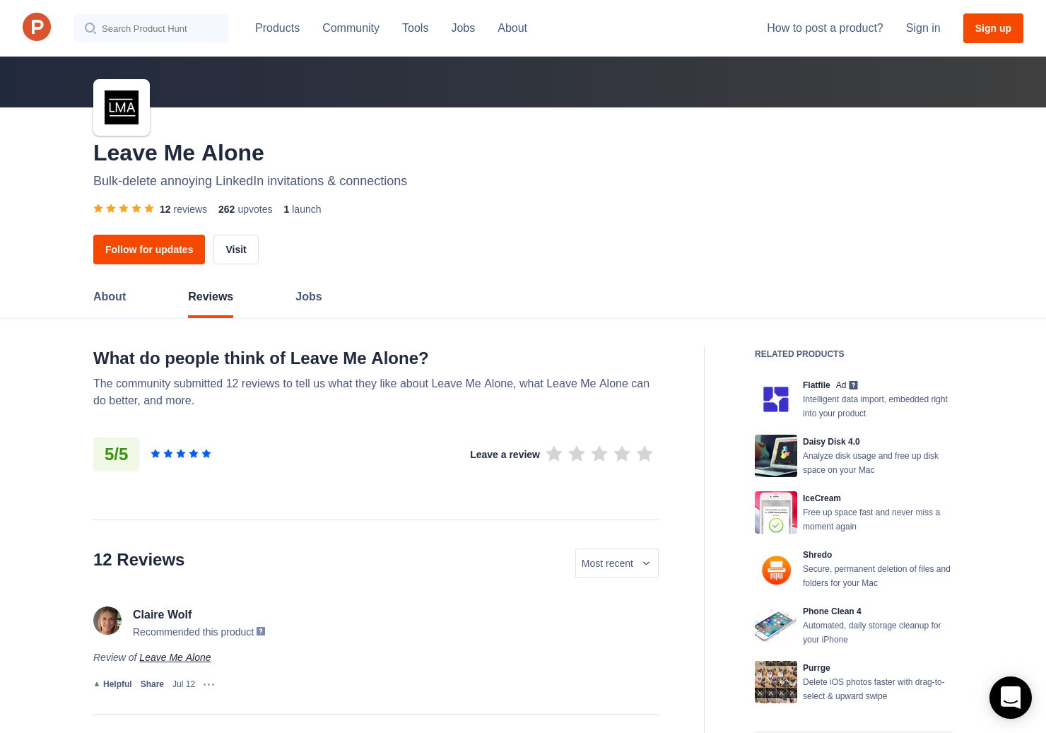 Cédric Costa's review of Leave Me Alone | Product Hunt