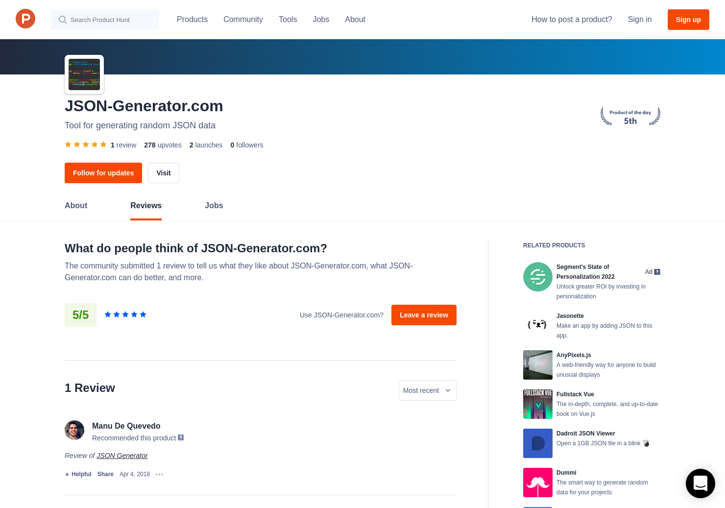 1 JSON Generator Reviews - Pros, Cons and Rating | Product Hunt