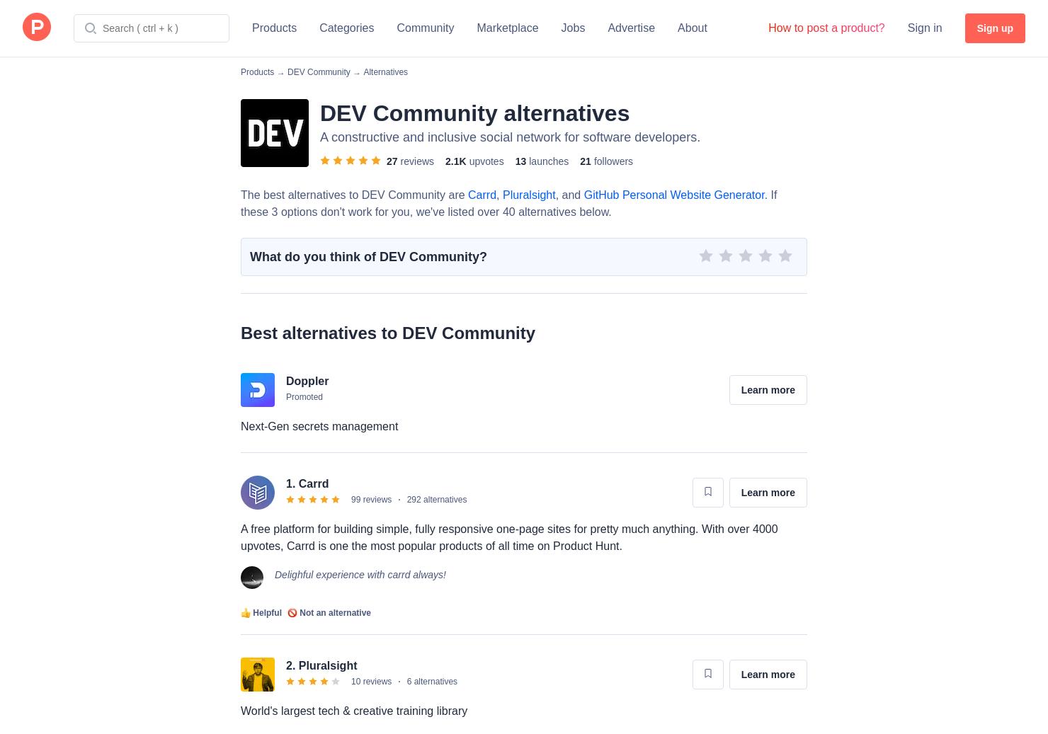 5 Alternatives to DEV Listings | Product Hunt