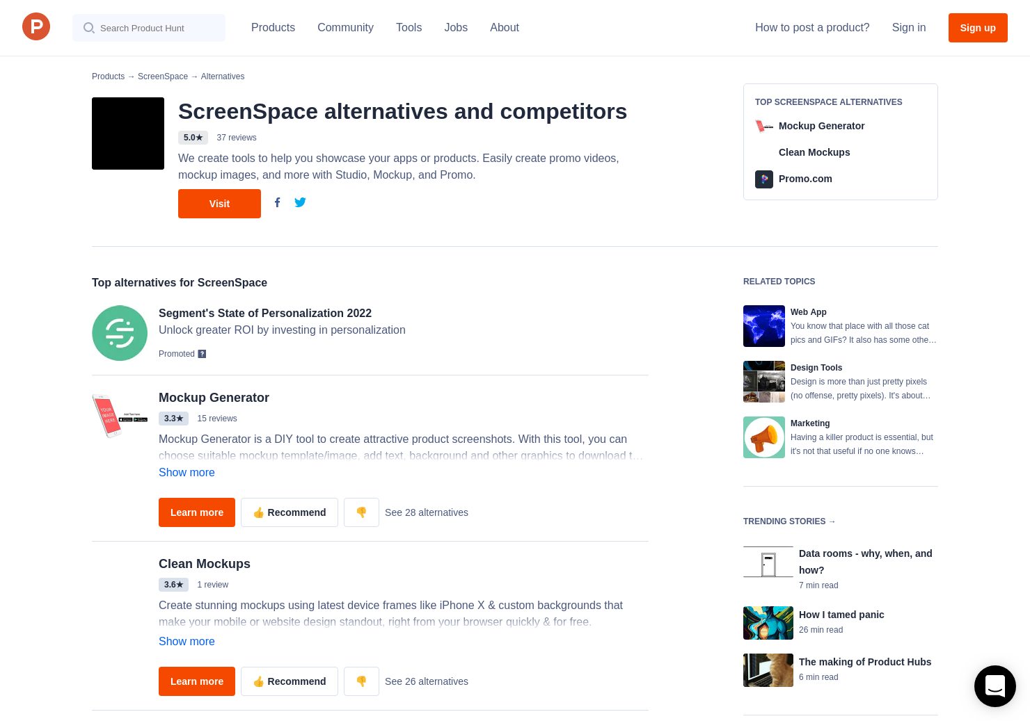 4 Alternatives to ScreenSpace Mockup | Product Hunt