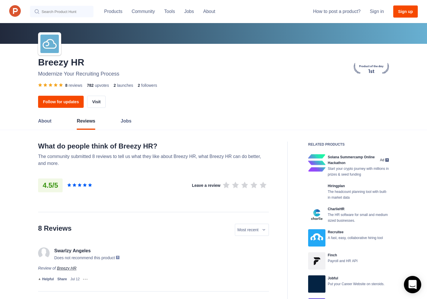 Breezy HR - Modernize Your Hiring Process Reviews on Product