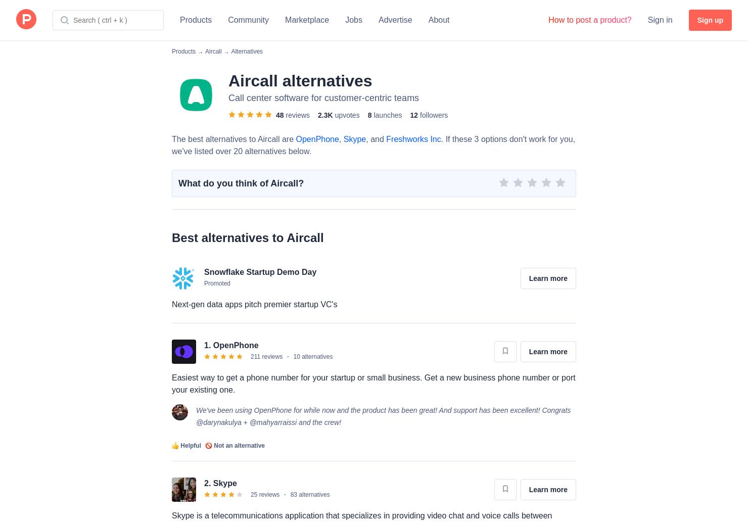 Aircall 3 alternatives to aircall | product hunt