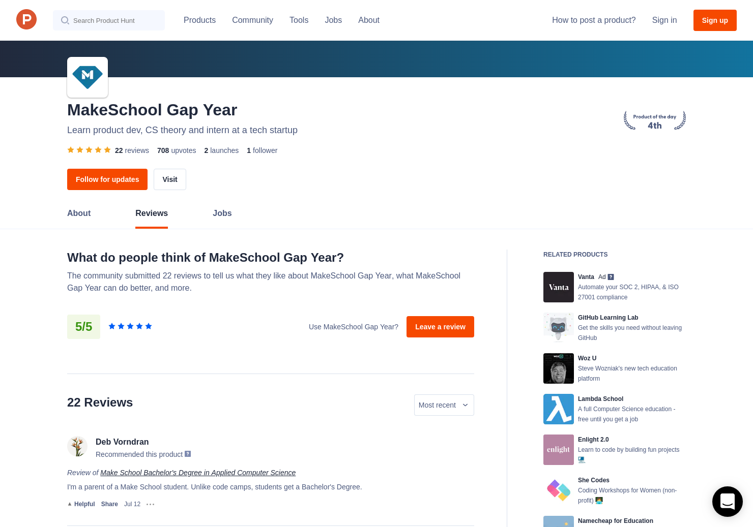 22 Make School Bachelor's Degree in Applied Computer Science