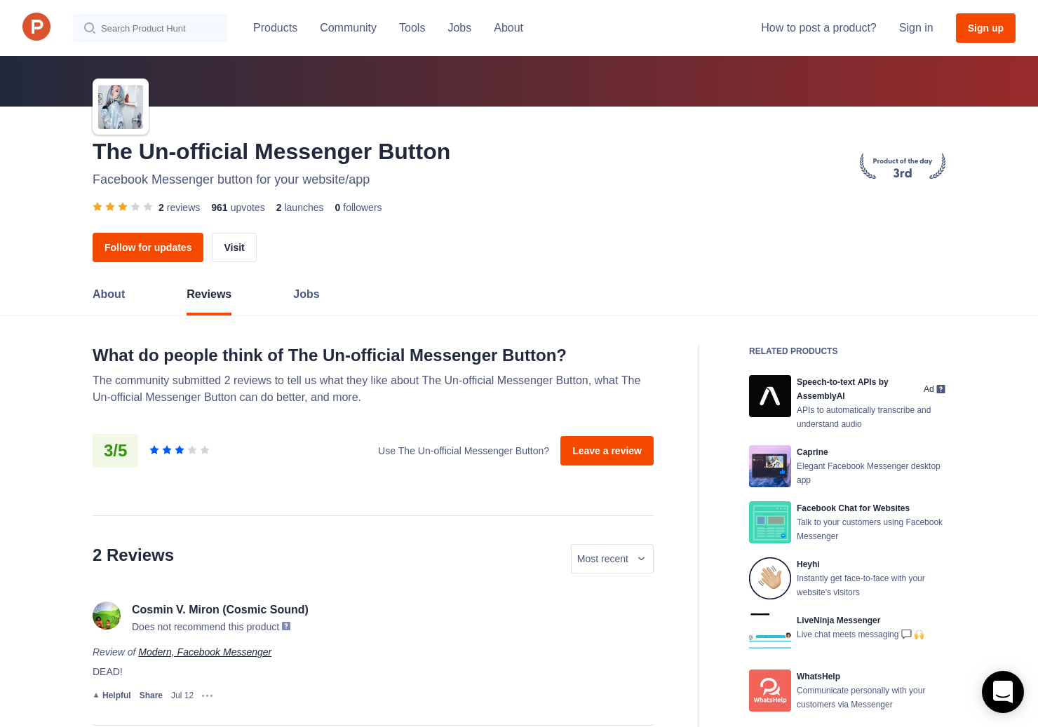 1 Modern, Facebook Messenger Reviews - Pros, Cons and Rating