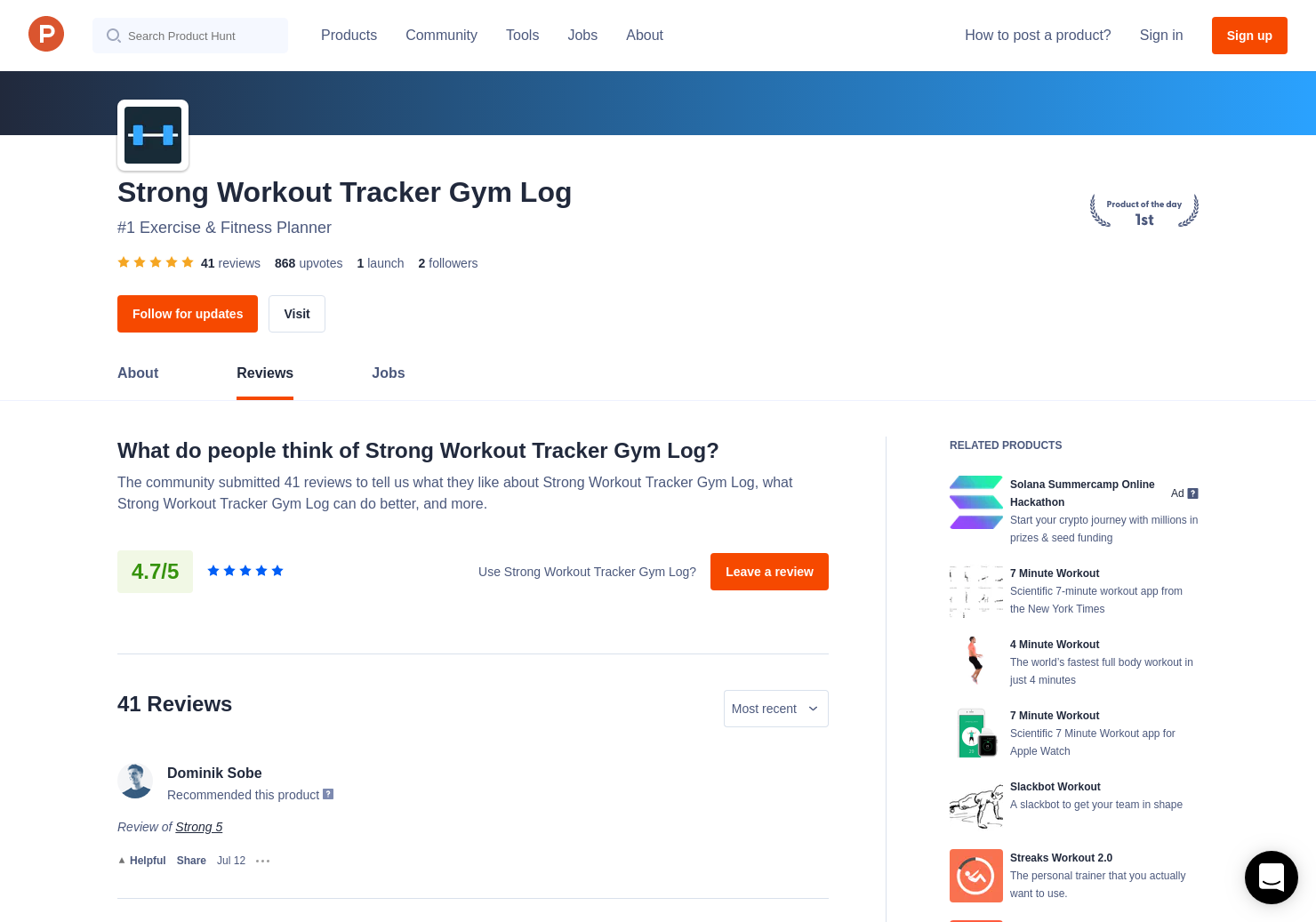 40 Strong 5 Reviews - Pros, Cons and Rating | Product Hunt