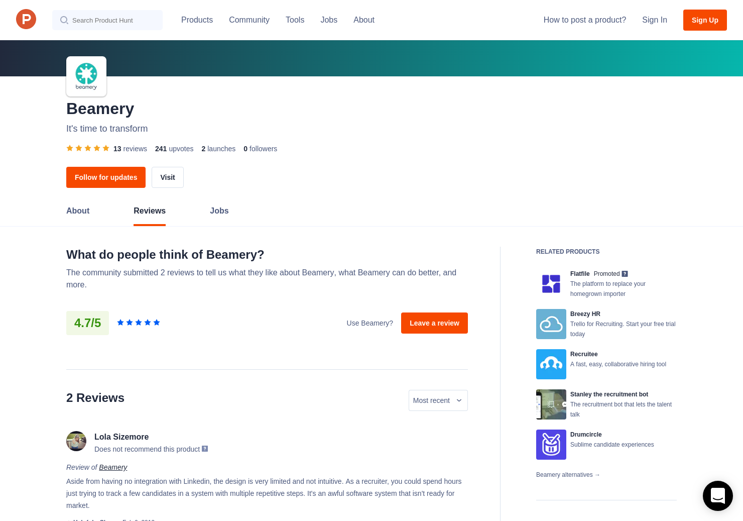 9 Beamery Reviews - Pros, Cons and Rating | Product Hunt