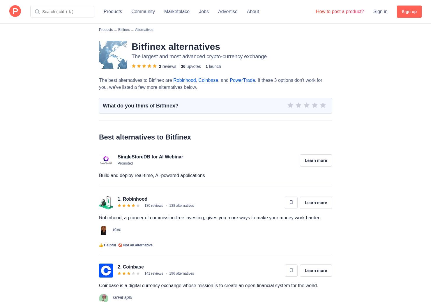 10 Alternatives to Bitfinex   Product Hunt