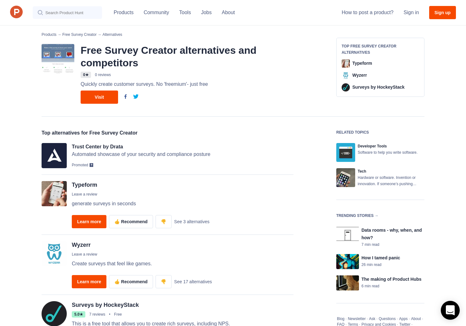 5 alternatives to free survey creator product hunt