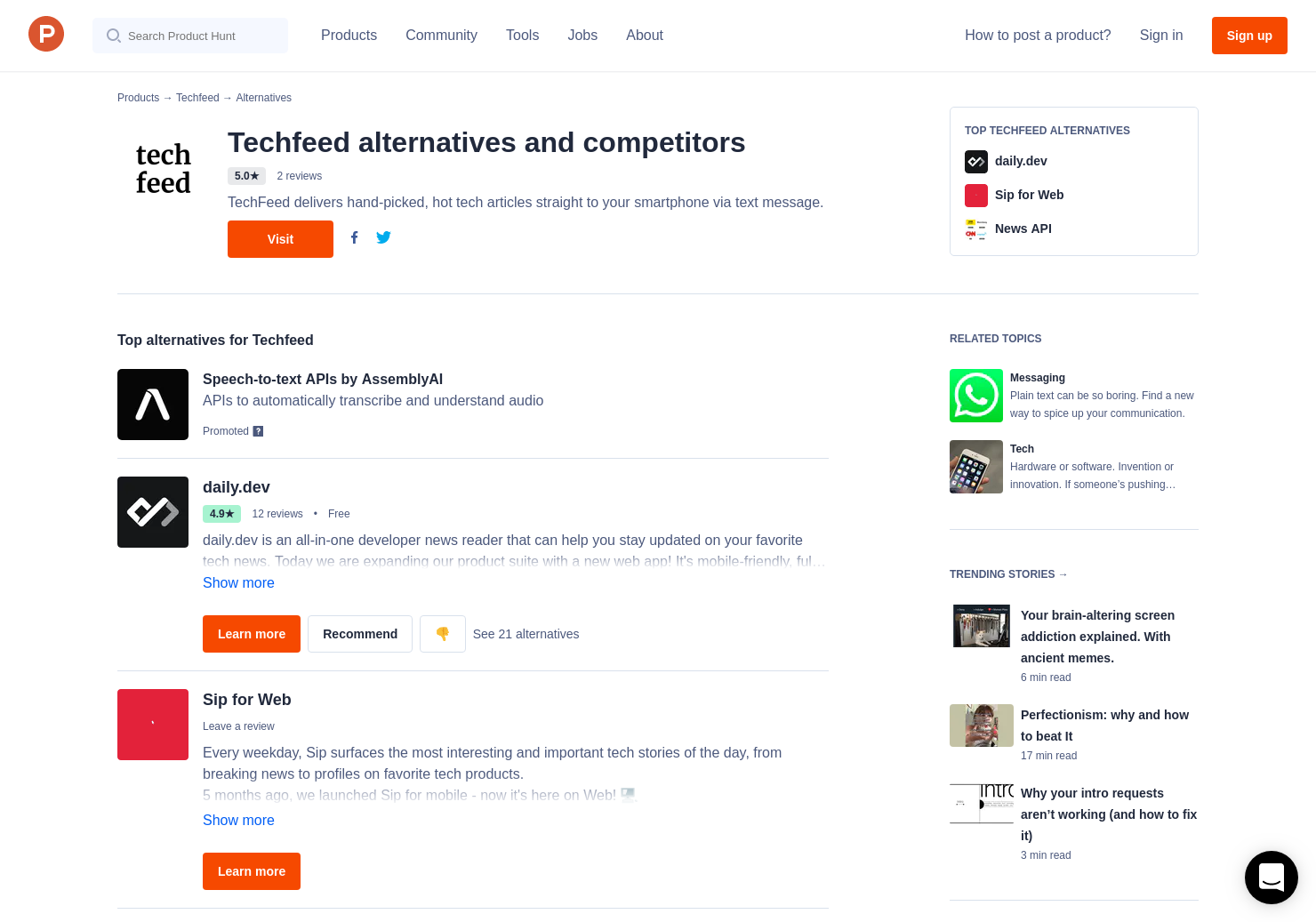 14 Alternatives to Techfeed | Product Hunt