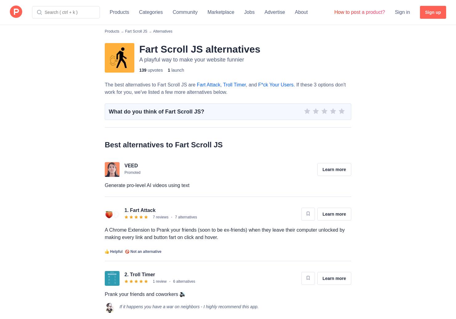 5 Alternatives to Fart Scroll JS | Product Hunt