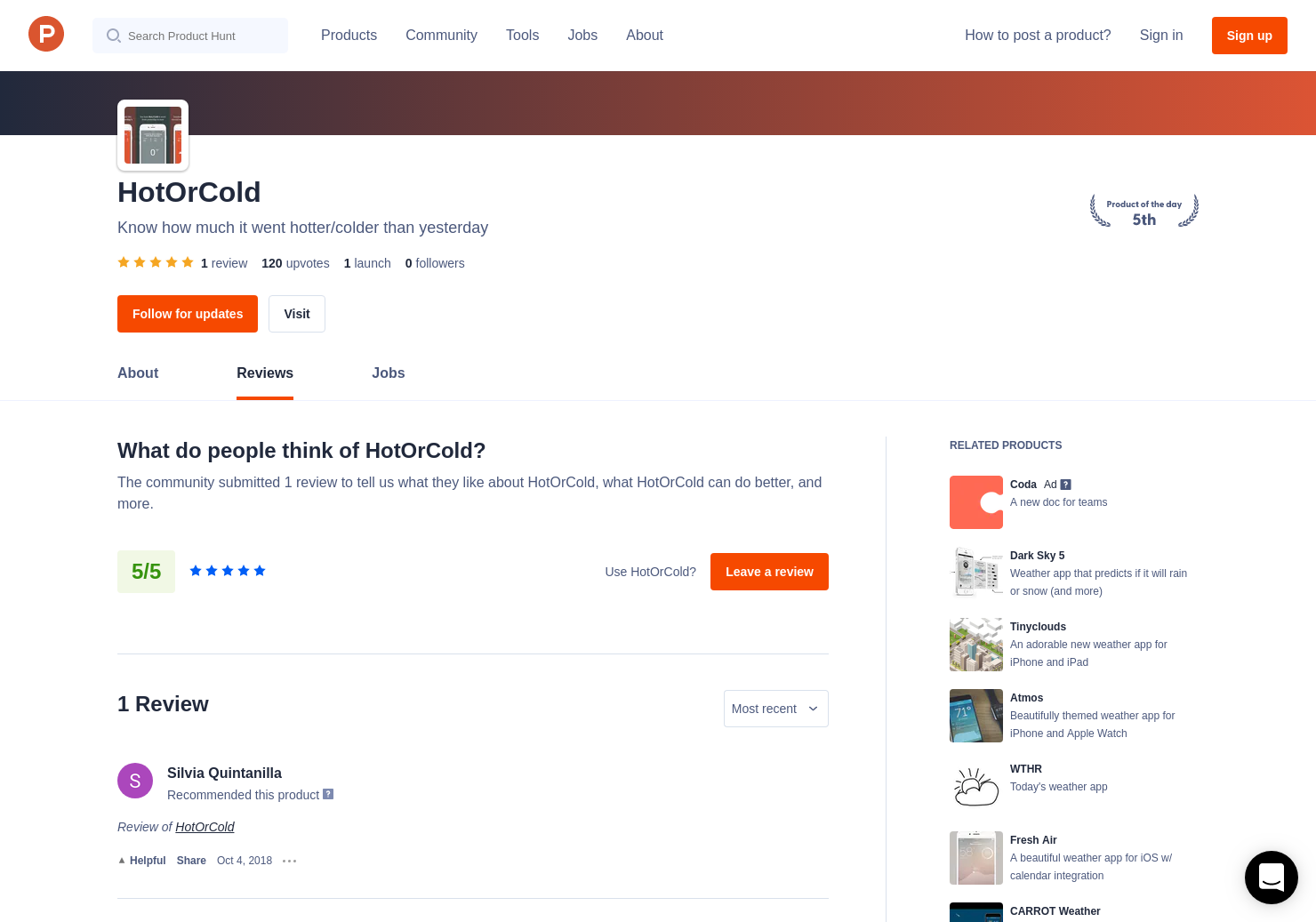 1 HotOrCold Reviews - Pros, Cons and Rating   Product Hunt