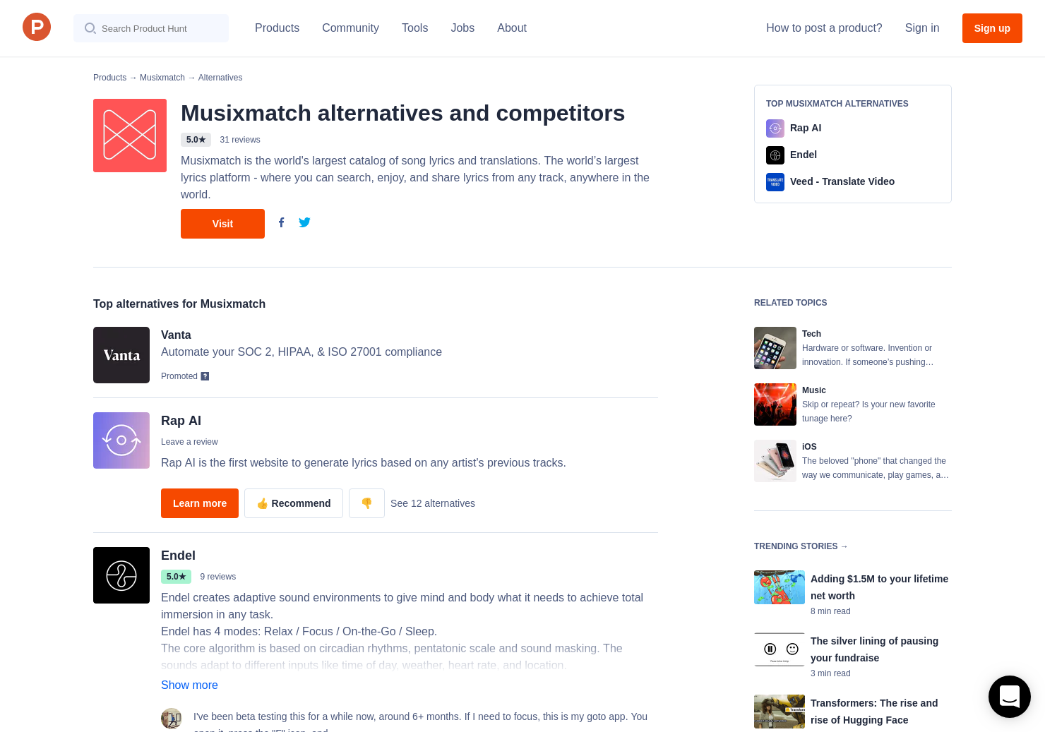 4 Alternatives to Musixmatch   Product Hunt