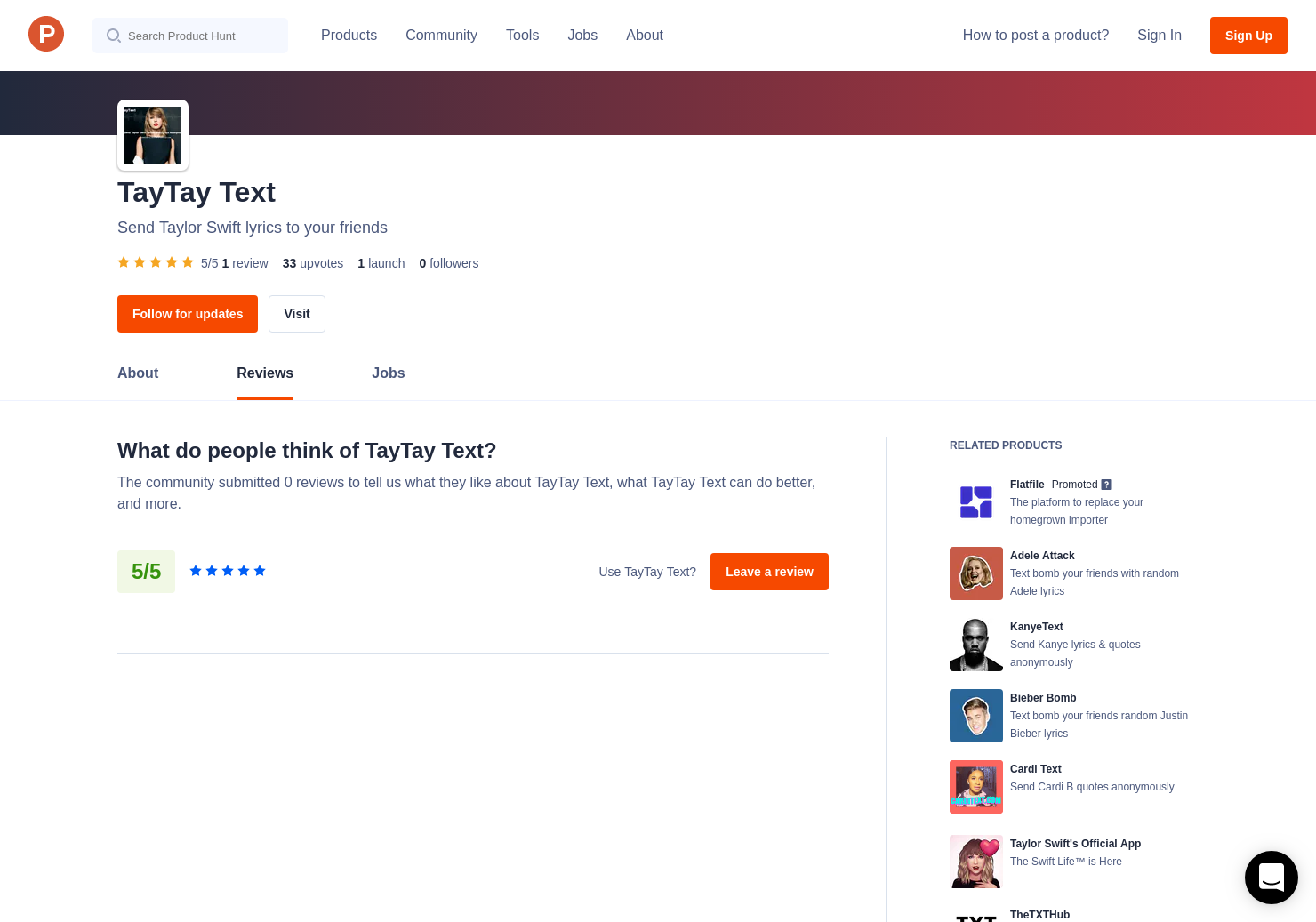 TayTay Text Reviews - Pros, Cons and Rating | Product Hunt