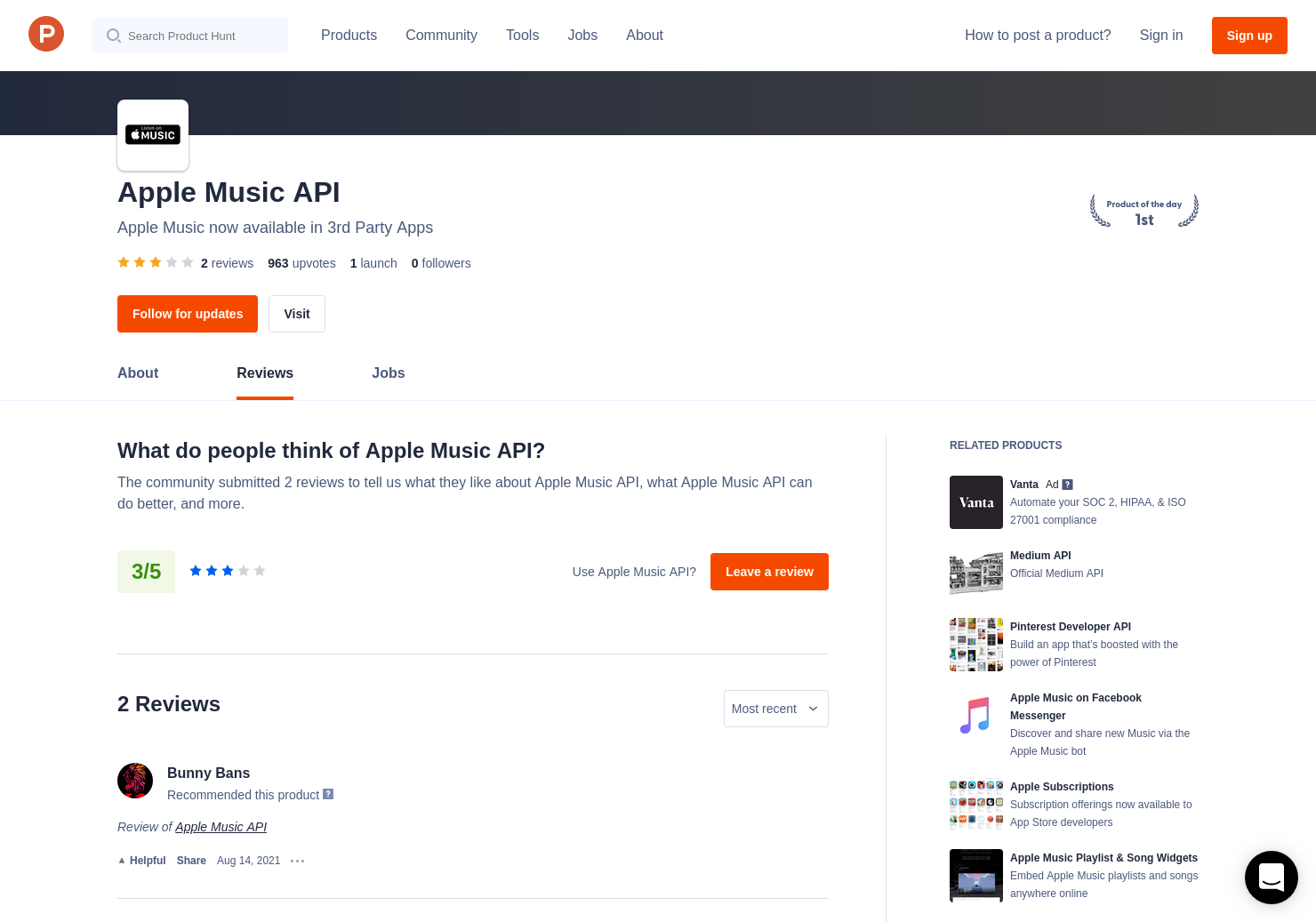 Apple Music API Reviews - Pros, Cons and Rating | Product Hunt