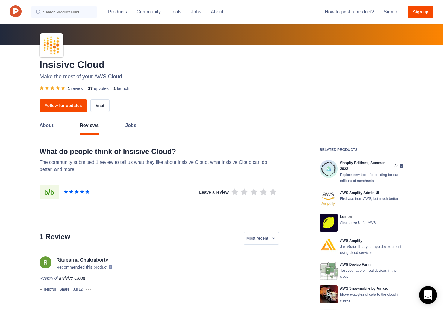 1 Insisive Cloud Reviews - Pros, Cons and Rating | Product Hunt
