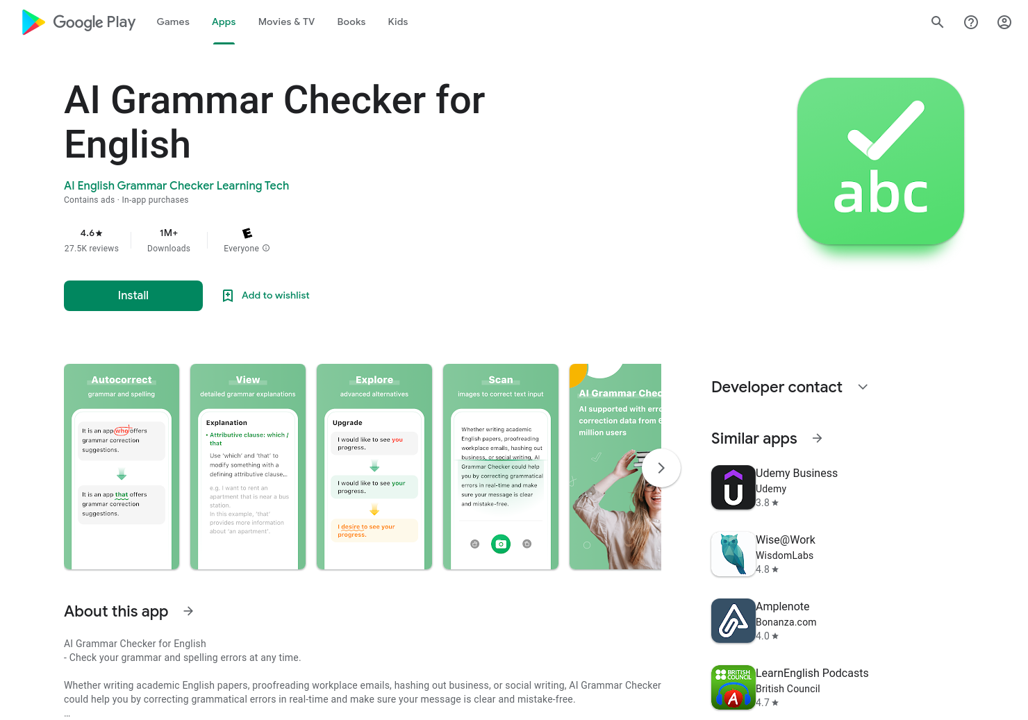 AI Grammar Checker for English
