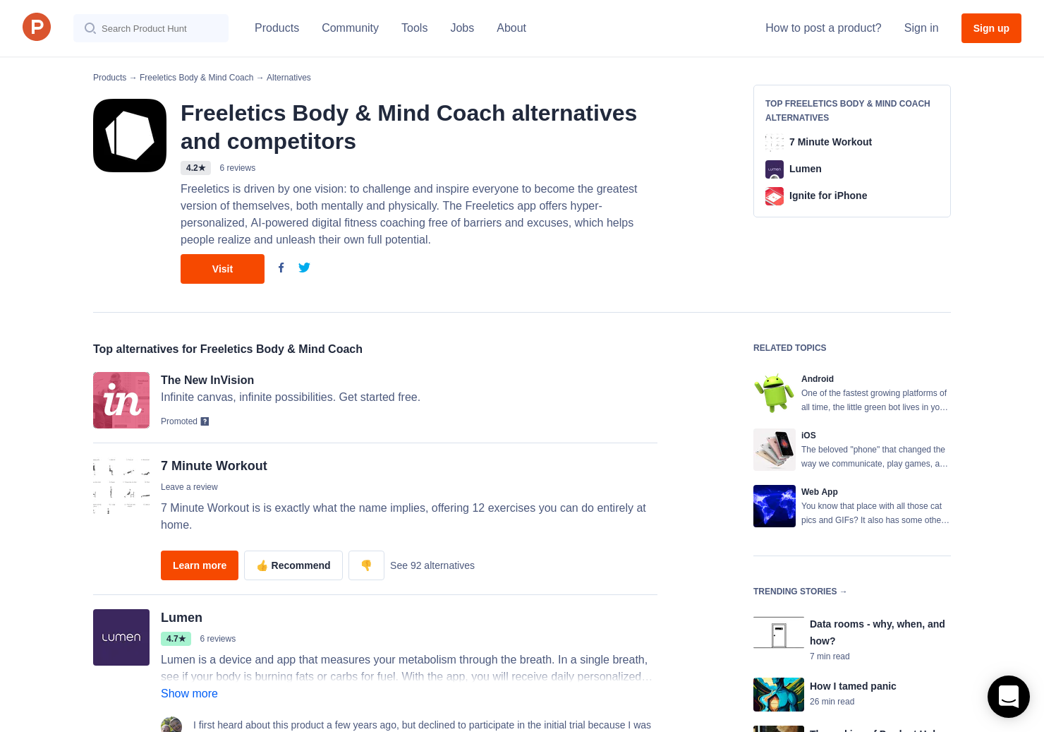 24 Alternatives to Freeletics for Android, iPhone | Product Hunt