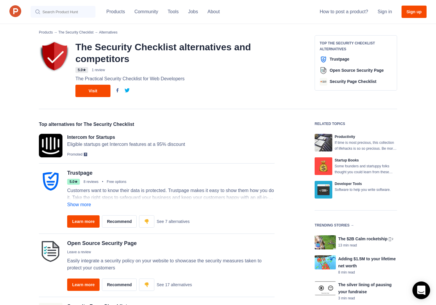 10 Alternatives To The Security Checklist Product Hunt Data Products