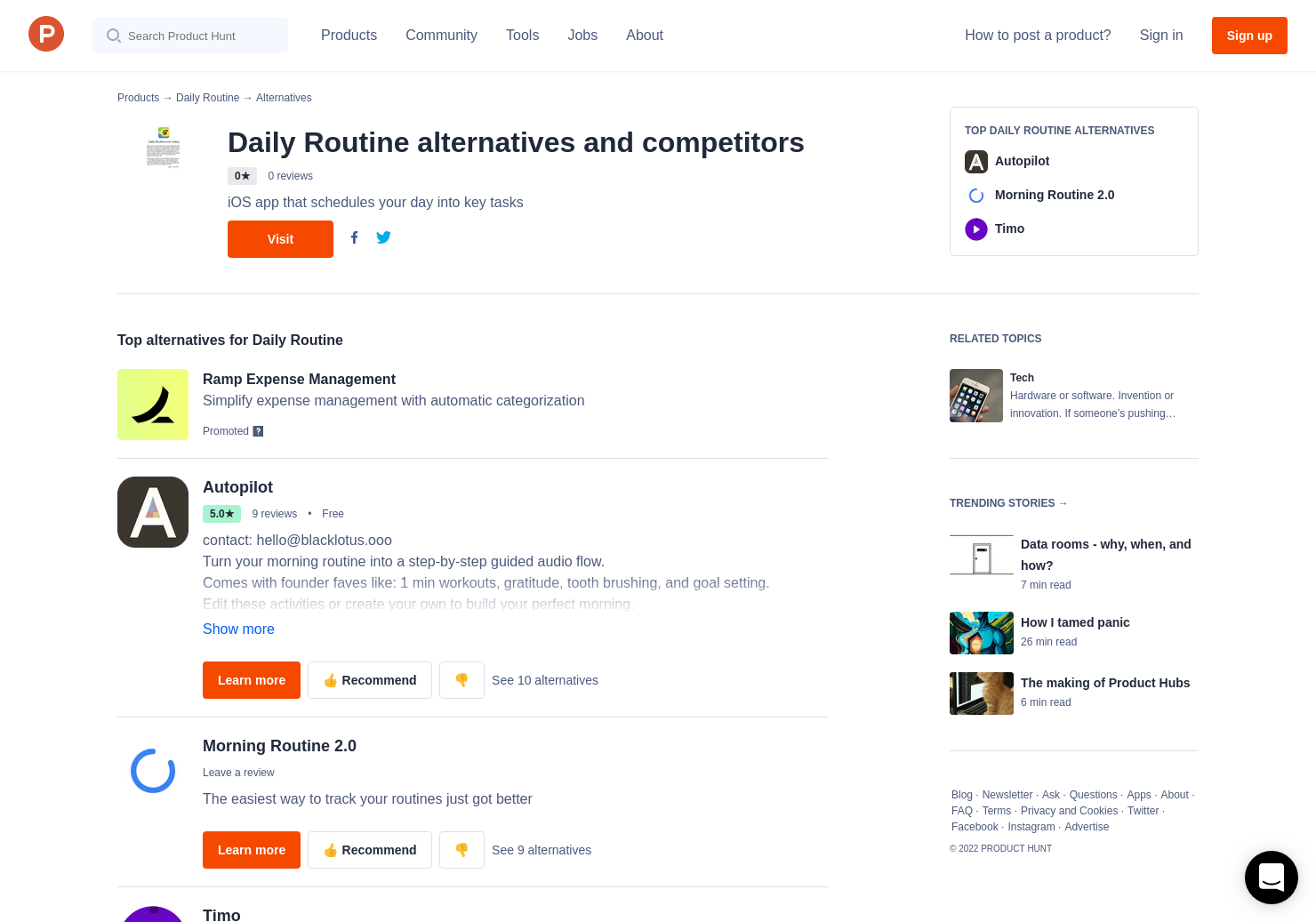 4 alternatives to daily routine product hunt