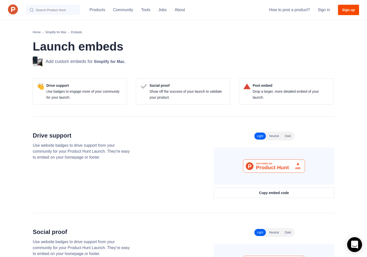 Badges & Embeds   Product Hunt