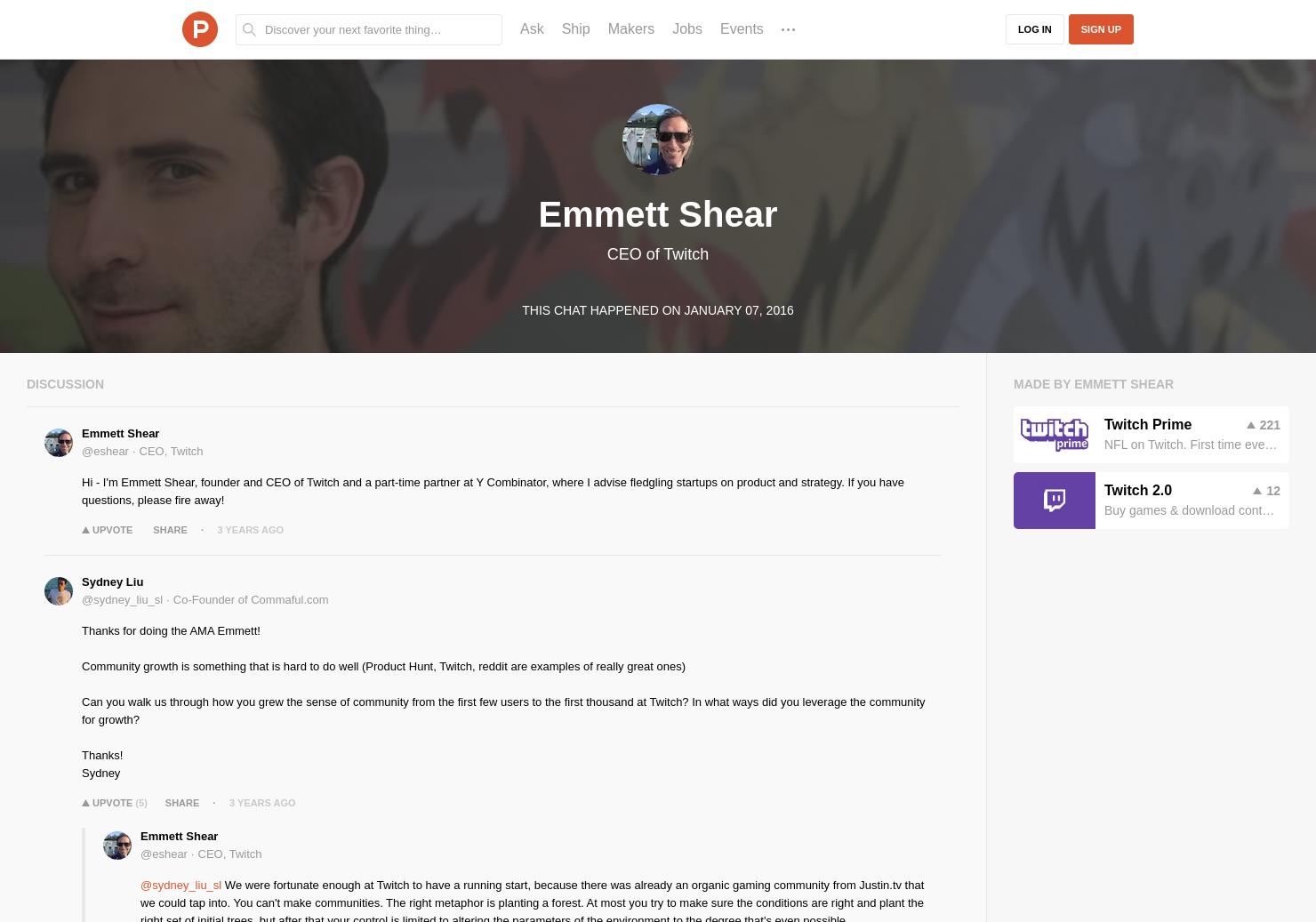 Emmett Shear LIVE Chat on Product Hunt