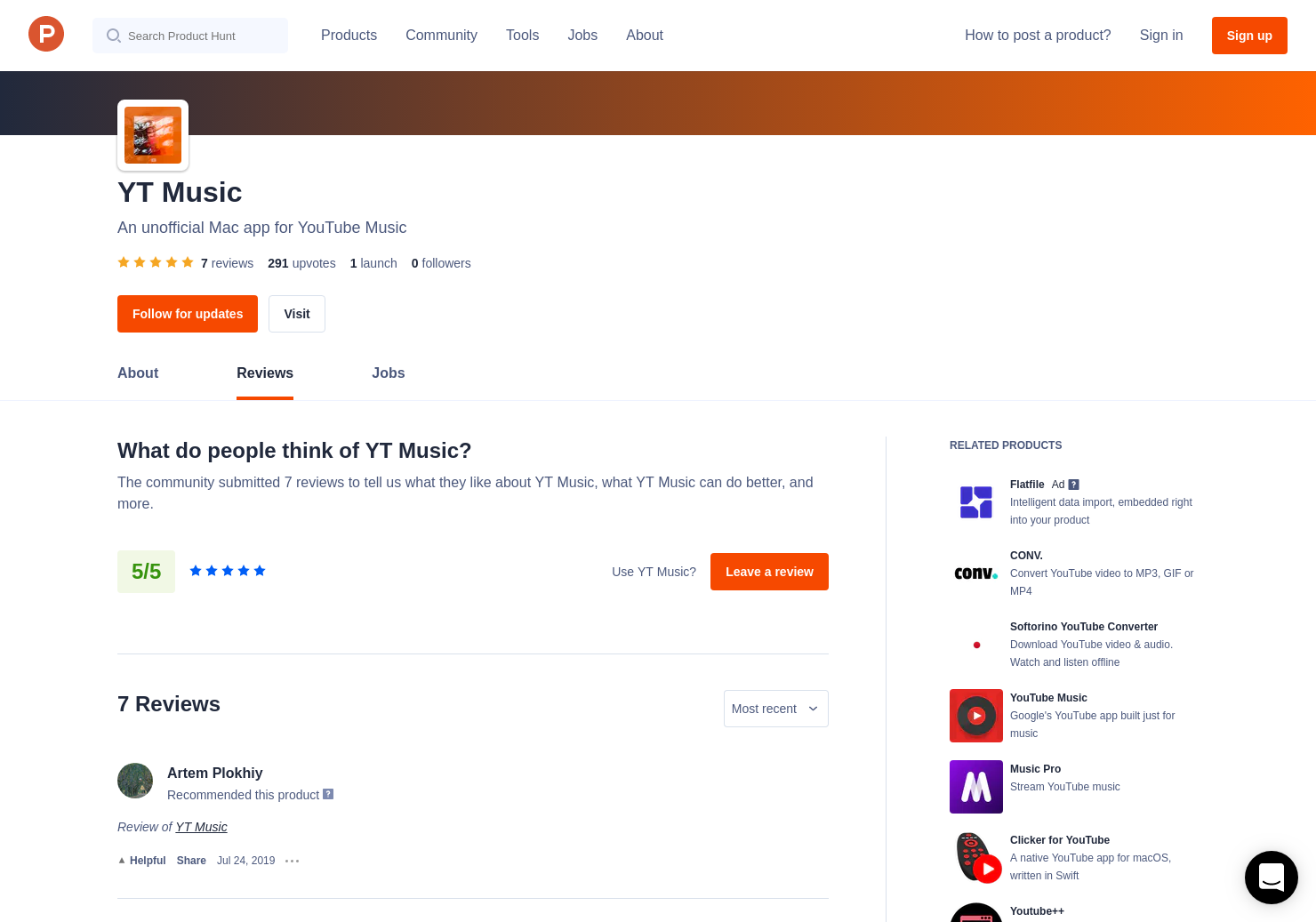 6 YT Music Reviews - Pros, Cons and Rating | Product Hunt